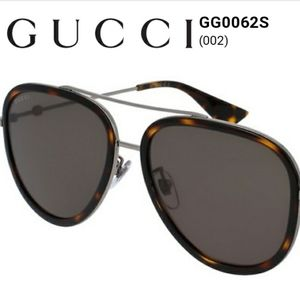 EUC Gucci Havana Acetate And Silver Metal Aviator